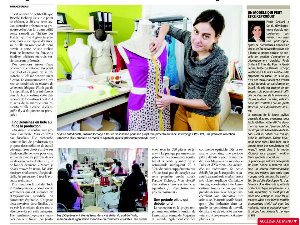 Equitable de la tête aux pieds - article nouvelliste 10 mars 2015
