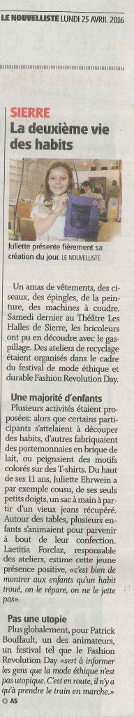 article nouvelliste 25.4.2016